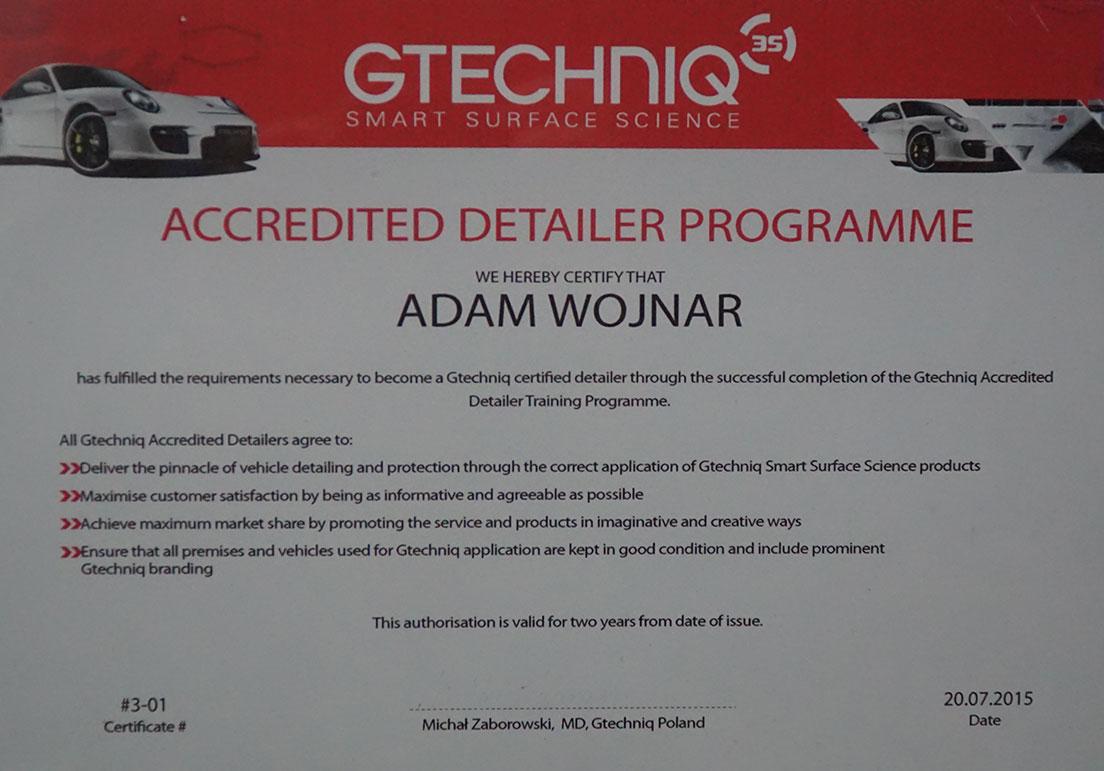 Certyfikat Auto detaailing Asfor Łódź